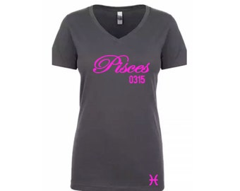 Women's Birthday Pisces Personalized T-Shirt/Tee