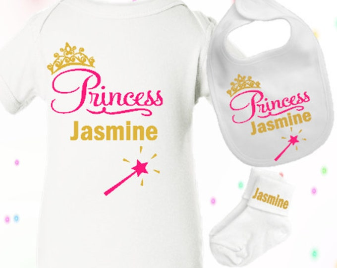 Baby Princess Onesie, Matching Onsie Outfit, Personalized Girl Infant Onsie, Personalized Infant socks and bib, New born gift, Baby Shower