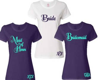 2 Bride/Maid of Honor/Bridesmaid Bridal Party T-Shirt with Monogram Personalization