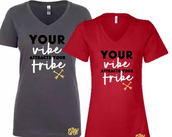 Tribe Vibe V-Neck Tee Optional Monogram Personalization