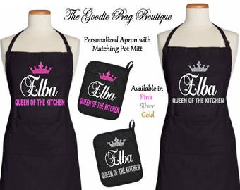 Personalized/Customized/Novelty Apron Queen of the Kitchen-Great Mother's Day/Birthday/Housewarming Gift