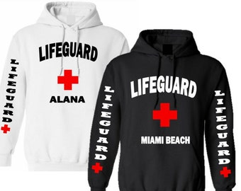 Lifeguard Hoodie Personalized Ladies/Mens/Unisex Personalized Hoodie Beach Lover Gift  Great Gift for Swimmer
