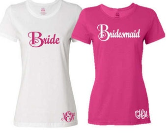 4 Bride/Maid of Honor/Bridesmaid Bridal Party T-Shirt with Monogram Personalization