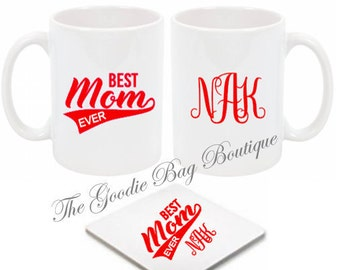 Best Mom Ever Mug and Coaster Set with Optional Free Personalized Monogram-Great New Mom /Mother's Day Gift