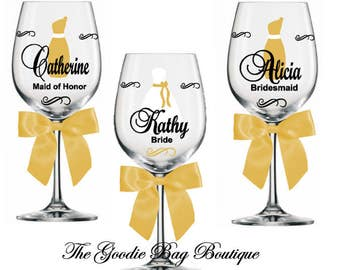 Kathy Bride and Bridal Party Personalized Wine Glasses