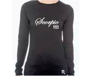 Scorpio Women's Birthday Personalized Long Sleeve T Shirt/Tee
