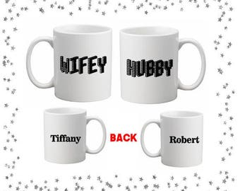 Hubby Wifey Mug Set Personalized with Names