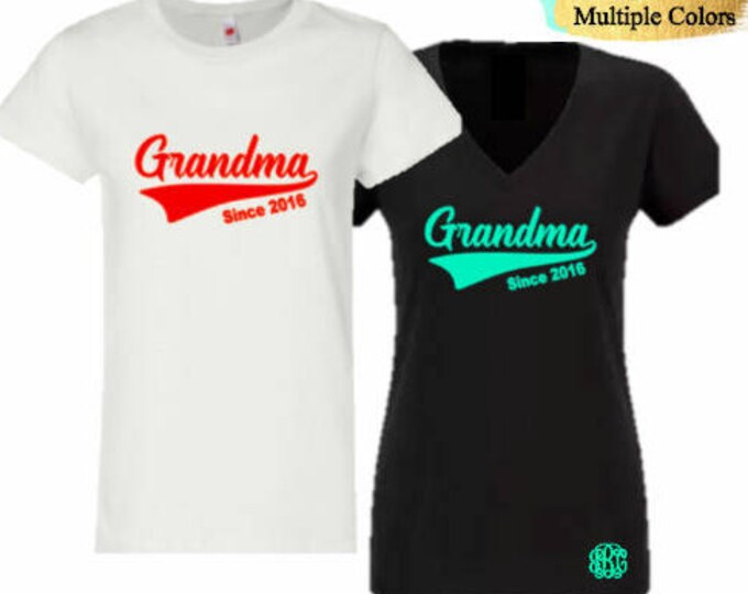 Grandma Baseball Tail T-Shirt with Optional Free Monogram