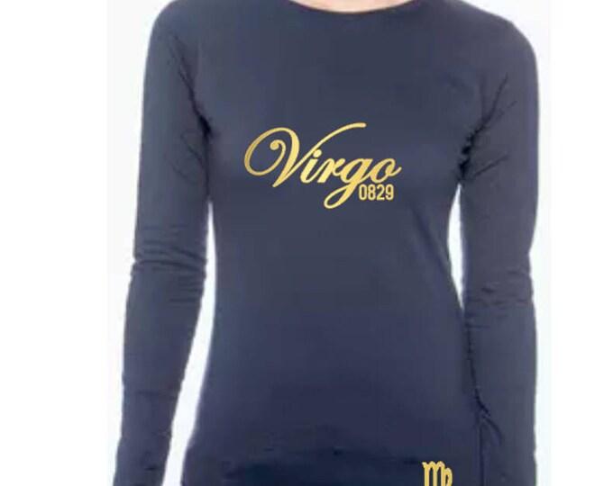 Virgo Birthday Shirt-Personalized Women's Long Sleeve