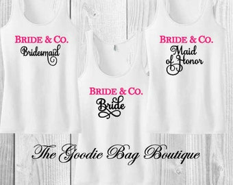 Bridal Wedding Party-bridesmaid Shirts/ Tank Tops-Bride & Co.