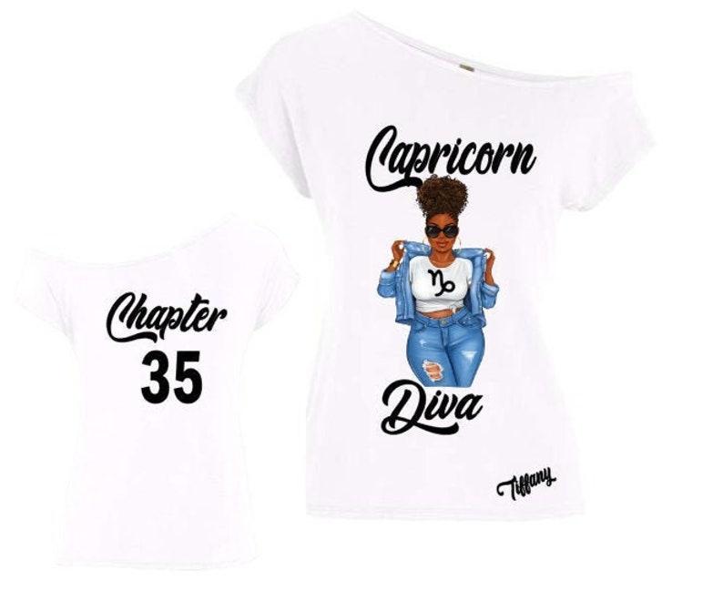 Capricorn Diva Birthday Zodiac Shirt-Off the Shoulder image 0