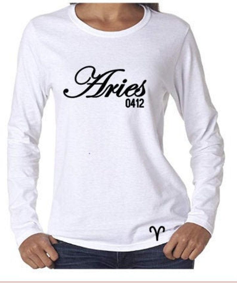 Aries Birthday Shirt-Womens Zodiac Long Sleeve T-Shirt-March image 0