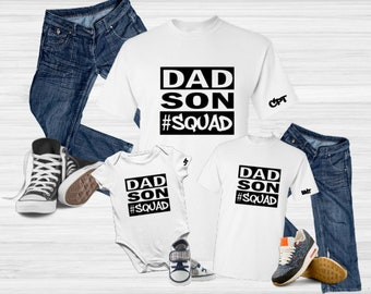 Dad Son Squad Personalized Matching Shirts-Daddy and Me Shirts-Father Son Shirts-Personalized Father's Day Gift Idea