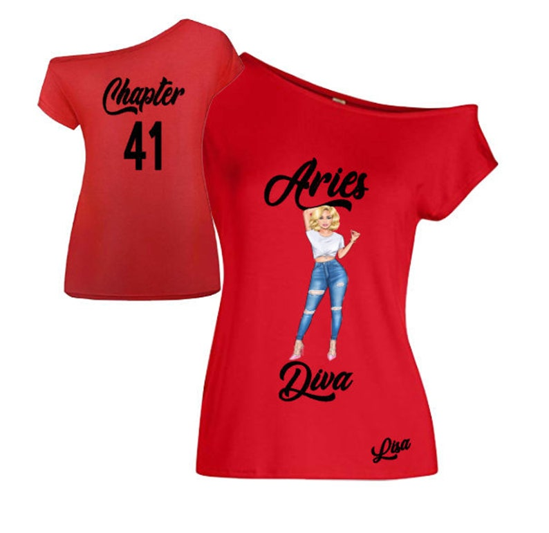 Aries Diva Birthday Shirt-Off the Shoulder Shirt-March image 0