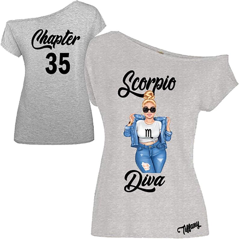 Scorpio Diva Birthday Zodiac Shirt-Off the Shoulder image 0