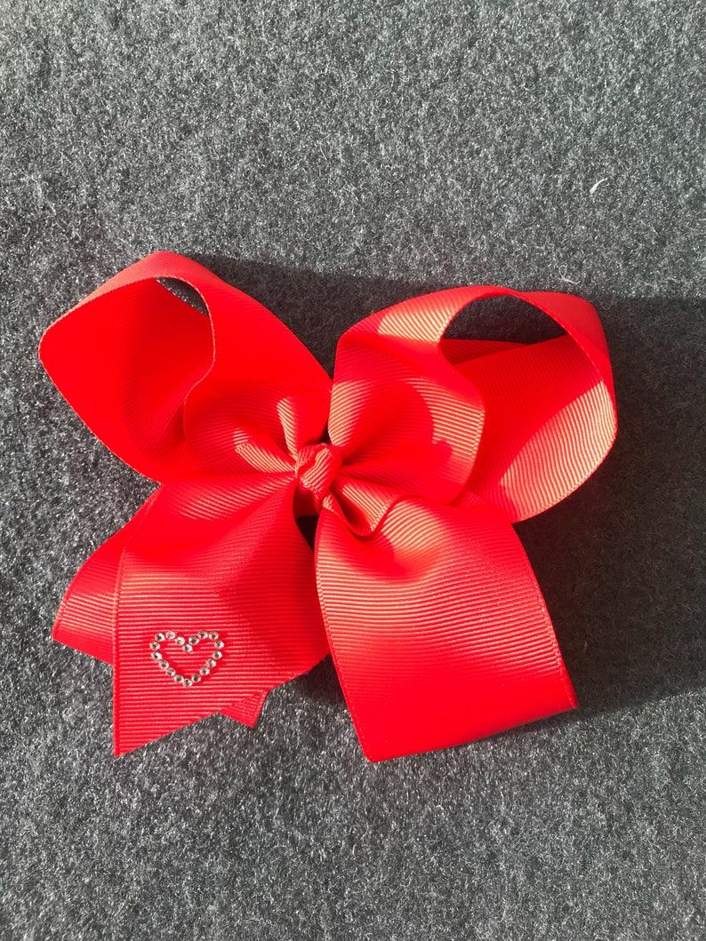 girls hair bow nylon headband big hair bow large bow red hair bow toddler hair bow Valentine\u2019s Day baby hair bow heart hair bow