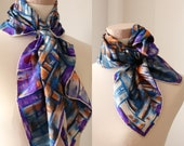 purple blue scarf Italy silk scarf square simple headscarf for women neck scarf Vintage Accessories gift for mom 39 s blue orange scarf