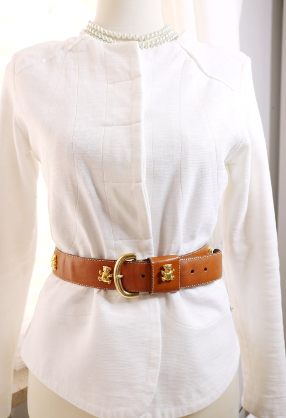 Furla signed belt for women gold brown belt genuin