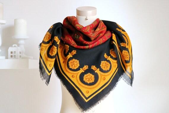 Italy vintage scarf wool scarf black red scarf Pai