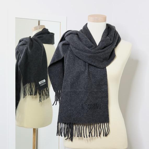 Moschino scarf virgin wool scarf long grey scarf