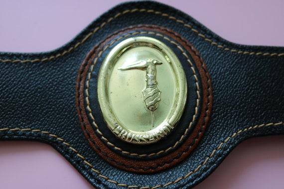 TRUSSARDI belt brown belt vintage Belt genuine Lea