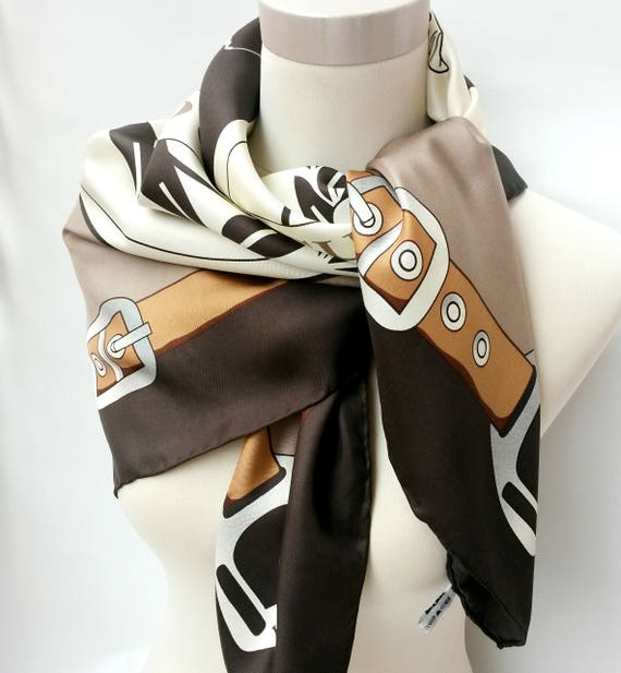 POLO scarf GOLD CUP scarf vintage silk scarf squar