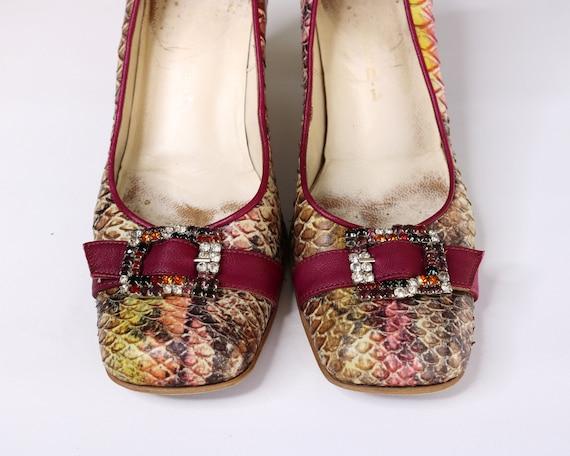 Italy vintage shoes US7 EU37 UK5 rhinestone Pumps