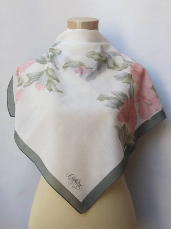 Foulard Blanc Rose Cacharel Anais Anais Logo Foulard Parfum écharpe