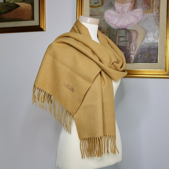 Moschino scarf wool camel long scarf Italy Moschin