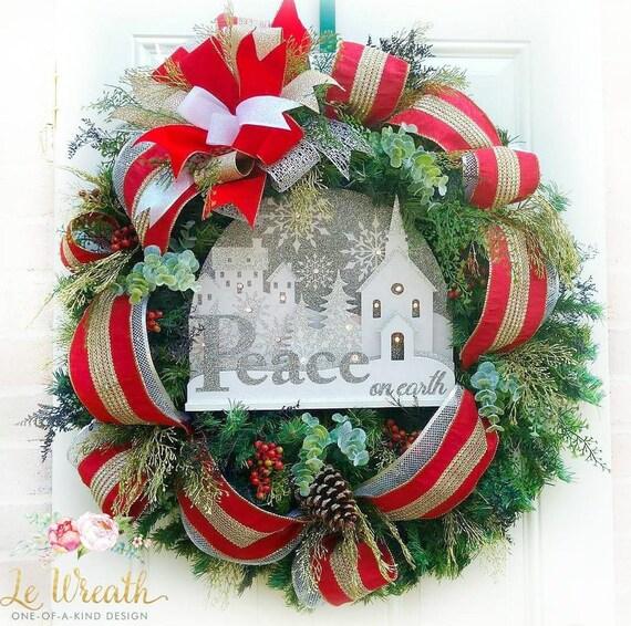 Christmas Lighted Wreath Christmas Door Wreath Evergreen | Etsy