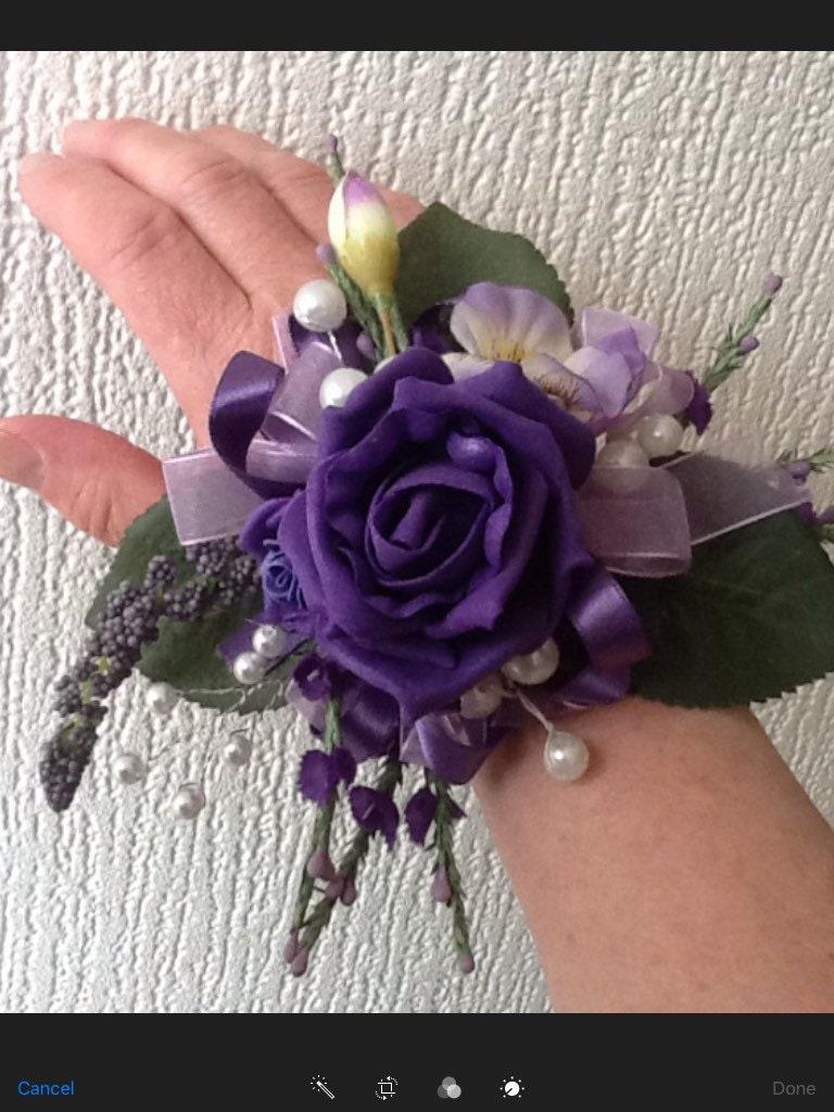 Plum Lilac Purple Flowers Wrist Corsage Elegant Silk Flower Corsage Wrist to Fingertip Special Occasion Flowers Prom Wedding-Bridal-Bride