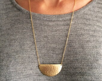 Moon necklace, long necklace, half moon pendant, gold plated necklace, geometric necklace, minimal necklace, simple necklace, moon, SHAPES
