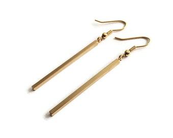 Bar earrings, long earrings, gold bar earrings, gold plated earrings, long bar earrings, minimal earrings, trendy earrings, square bar
