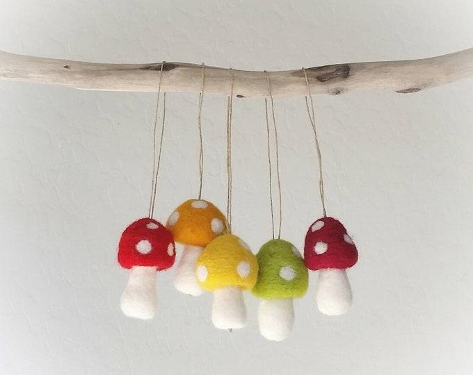 Woodland Christmas Ornaments : Felted Wool mushroom Ornaments
