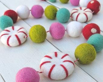 Christmas Garland : Peppermint Christmas Felt Ball Garland