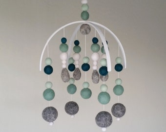Baby Mobile : Mint and Grey Felt Ball Mobile