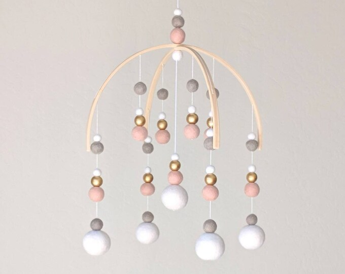 Baby Mobile : Blush and Gold Pom Pom Mobile
