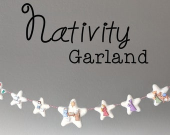 Nativity Christmas Garland : Christmas Advent Garland
