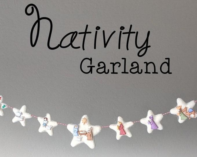 Nativity Christmas Garland : Christmas Advent Garland