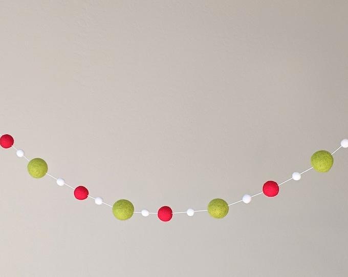 Pom Pom Christmas Garland : Red and Lime Christmas Garland