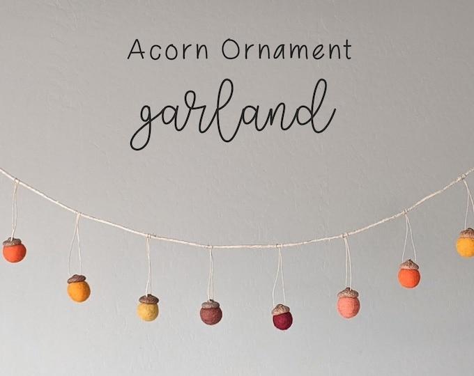 Acorn Garland : Felted Wool Acorns