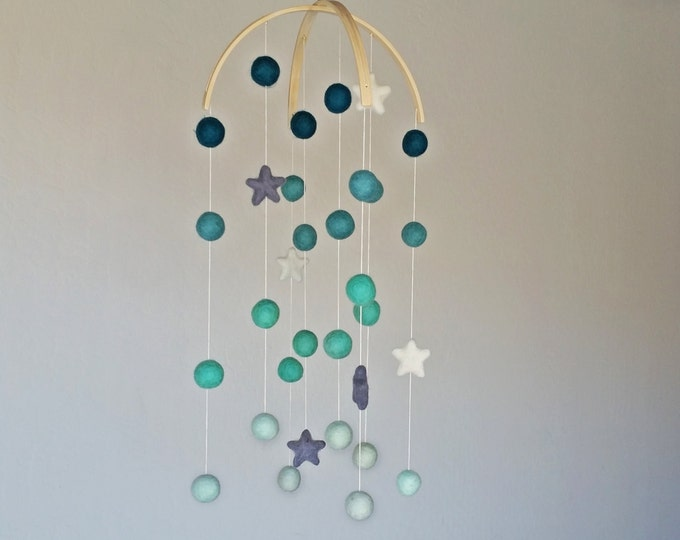 Baby Mobile : Night Sky Pom Pom mobile in Mint Ombre tones and stars