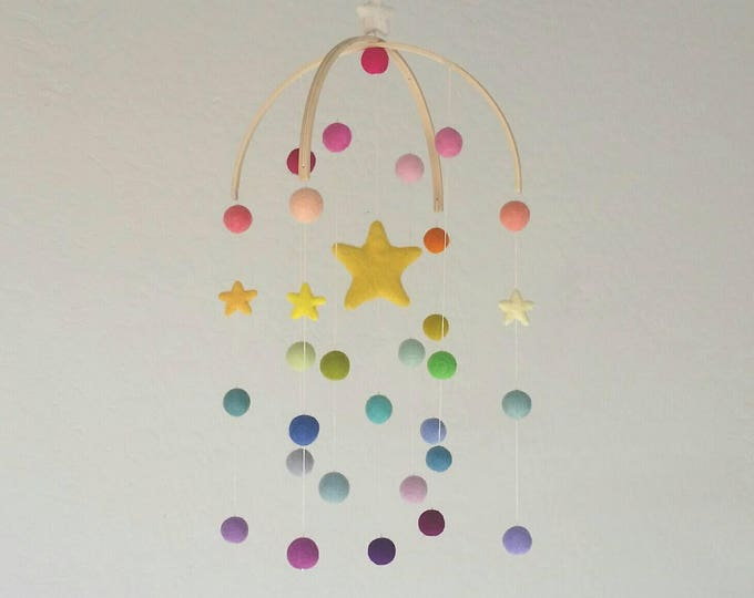 Baby Mobile : Deluxe Rainbow Baby Mobile - felt poms and stars