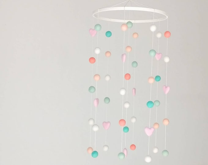 Deluxe Baby Mobile : Classic Modern Baby Mobile in Mint and Peach