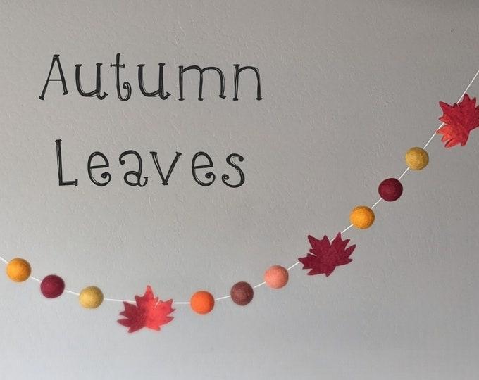 Fall Leaf Garland : Felt Garland for Autumn