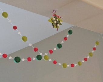 Pom Pom Christmas Garland : Red and Lime Christmas Garland