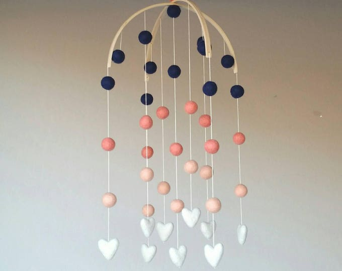 Deluxe Baby Mobile : Coral Delight with navy, coral, peach, and ivory