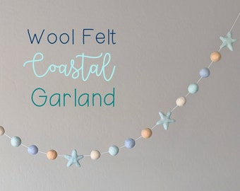 Wool Felt Coastal Garland : Coastal Beach Themed Decor