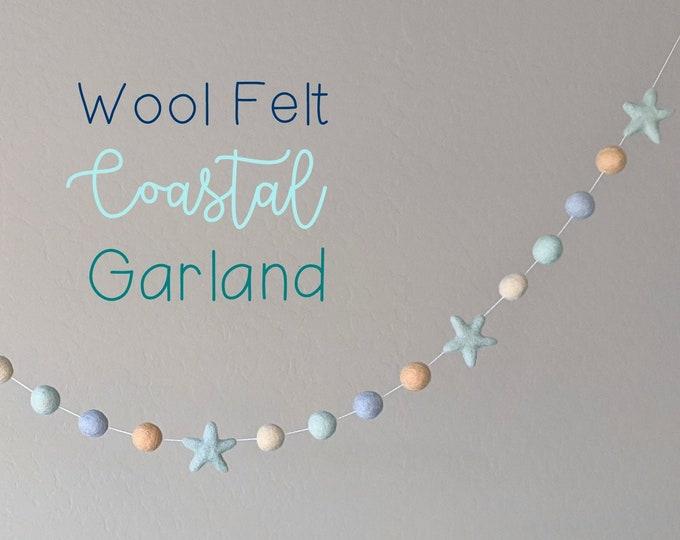 Wool Felt Coastal Garland : Coastal Beach Themed Decor