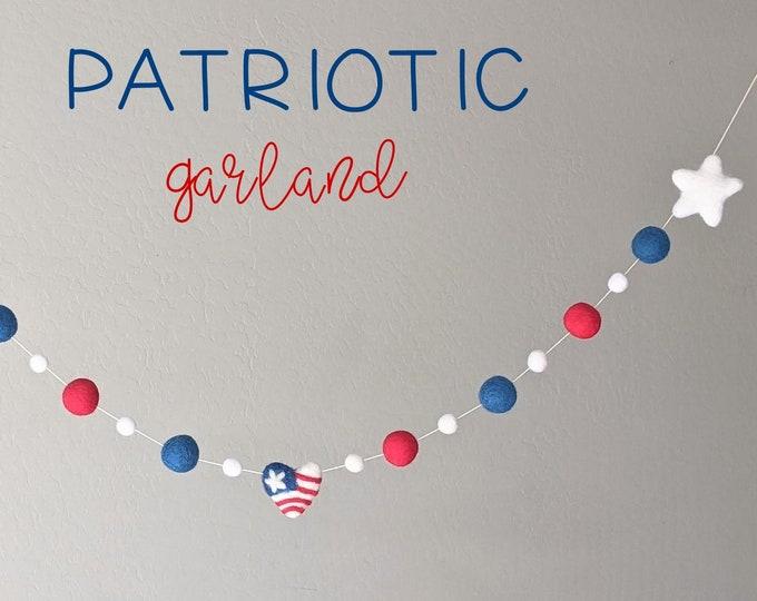 Patriotic Garland : Wool Felt garland for Memorial Day